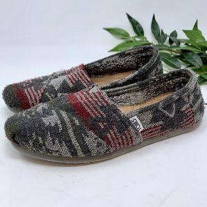Toms Knit Loafer Flats Southwest Aztec Boho 7.5